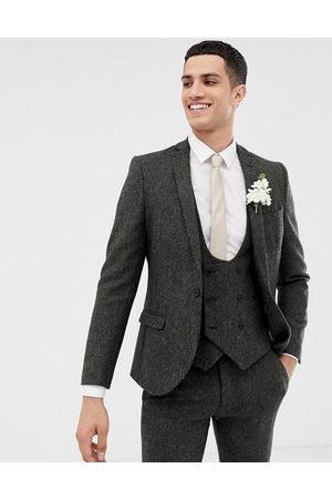 Twisted Tailor Super skinny suit jacket in charcoal donegal tweed
