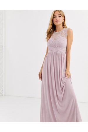 Lipsy London Ruched maxi dress with lace yolk and embellished neck in lavender