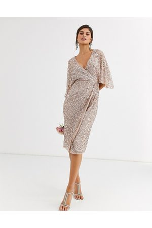 Maya Bridesmaid delicate sequin wrap midi dress in taupe blush