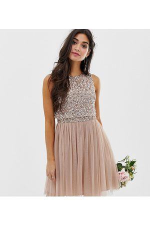 Maya Bridesmaid sleeveless mini tulle dress with tonal delicate sequin overlay in taupe blush