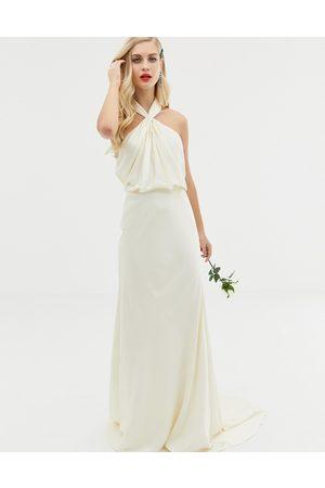 ASOS Ruched halter neck maxi wedding dress