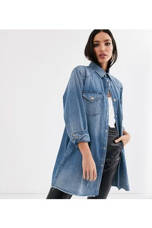 ASOS ASOS DESIGN Tall denim oversized shirt in vintage midwash