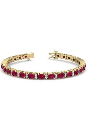 SuperJeweler 7 Carat Oval Shape Ruby & Diamond Bracelet in 14K (10 g)
