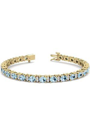 SuperJeweler 5 Carat Oval Shape Aquamarine & Diamond Bracelet in 14K (10 g)