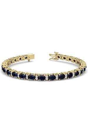 SuperJeweler 7 Carat Oval Shape Sapphire & Diamond Bracelet in 14K (10 g)