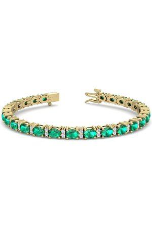 SuperJeweler 5 Carat Oval Shape Emerald Cut & Diamond Bracelet in 14K (10 g)