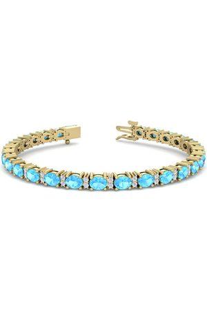 SuperJeweler 6 Carat Oval Shape Blue Topaz & Diamond Bracelet in 14K (10 g)