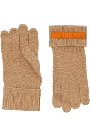 Burberry Cashmere logo appliqué gloves - NEUTRALS