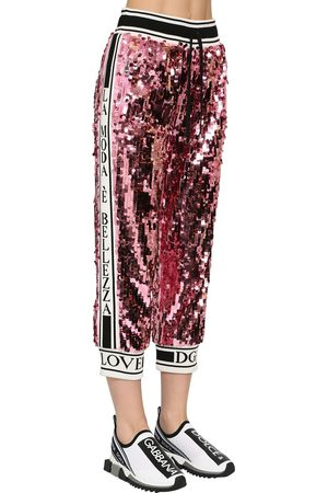 Dolce & Gabbana Sequined Sweatpants W/ Knit Side Bands