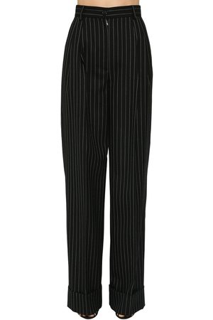 Dolce & Gabbana Pin Striped Wool Wide Leg Pants