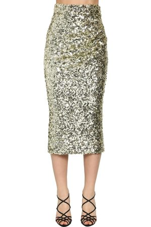 Dolce & Gabbana High Waist Sequined Pencil Midi Skirt