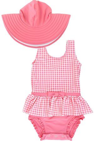 RuffleButts Infant Girl's Rose Gingham One-Piece Swimsuit & Floppy Hat Set