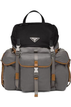 Prada Men Rucksacks - Logo plaque backpack - Grey