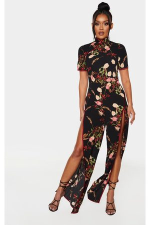 PRETTYLITTLETHING Thigh Split Printed Jumpsuit