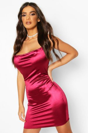 Boohoo Womens Satin Cowl Front Bodycon Dress - - 4