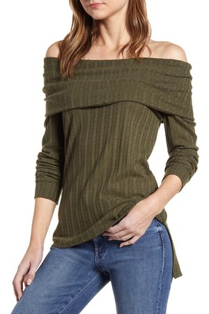 Loveappella Women's Loveapella Ribbed Pointelle Off The Shoulder Top