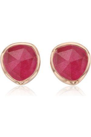 Monica Vinader Rose Gold Siren Stud Earrings Pink Quartz