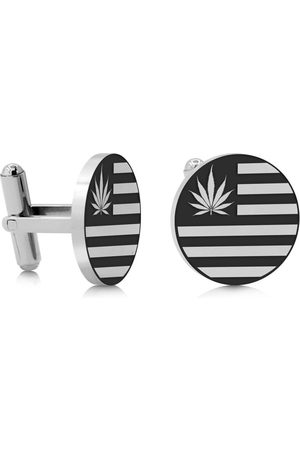 SuperJeweler Cannabis Leaf Flag Cufflinks