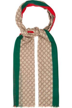 Gucci Gg Print Raw Edged Wool Scarf - Mens