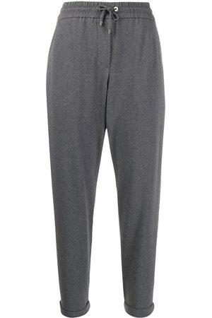 Brunello Cucinelli Tapered-leg drawstring track pants - Grey