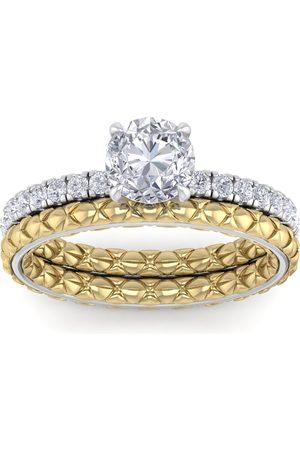 SuperJeweler 1.5 Carat Round Shape Moissanite Bridal Ring Set in Quilted 14K White & (5.80 g)