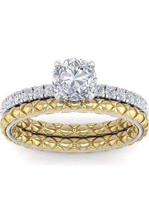 SuperJeweler 1.5 Carat Round Shape Diamond Bridal Ring Set in Quilted 14K White & (5 g) (