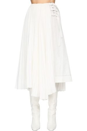 Proenza Schouler Pleated Linen Blend Midi Skirt W/buckles
