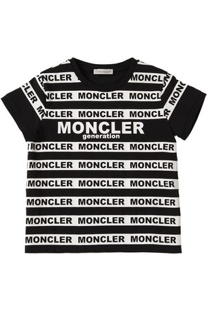 Moncler Logo Striped Print Cotton Jersey T-shirt