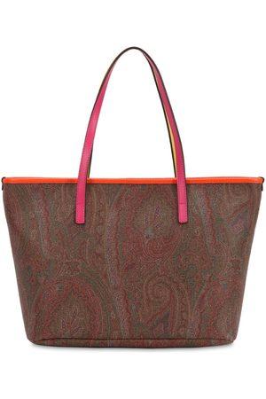 Etro Women Tote Bags - Paisley Print Coated Cotton Tote Bag
