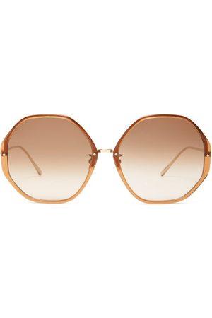 Linda Farrow Oversized Heptagonal Acetate Sunglasses - Womens