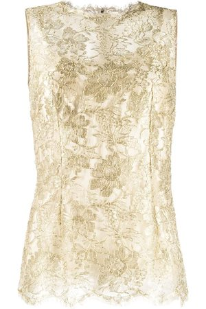 Dolce & Gabbana Women Tank Tops - Lace brocade sleeveless blouse