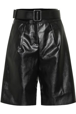 Self-Portrait Faux-leather Bermuda shorts