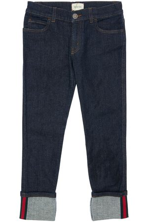 Gucci Stretch Cotton Jeans W/ Web Detail