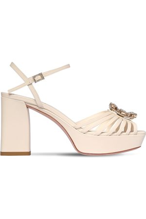 Roger Vivier 90mm Crystal & Leather Platform Sandals