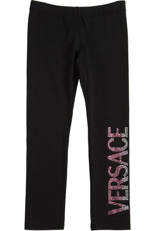 VERSACE Embellished Logo Cotton Jersey Leggings