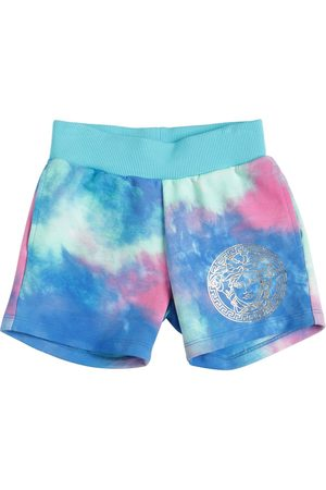 VERSACE Tie Dyed Cotton Sweat Shorts
