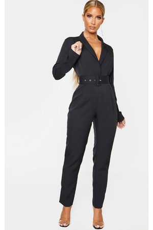 PRETTYLITTLETHING Lapel Detail Belted Jumpsuit