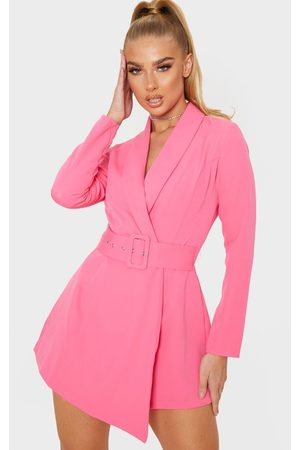 PRETTYLITTLETHING Long Sleeve Tailored Belted Romper