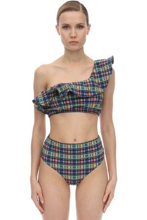 Ganni Ruffled Seersucker Bikini Top