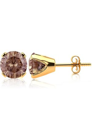 SuperJeweler 1.5 Carat Chocolate Bar Brown Champagne Diamond Stud Earrings in 14k by