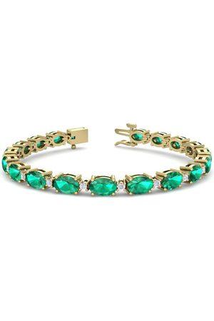 SuperJeweler 9 Carat Oval Shape Emerald Cut & Diamond Bracelet in 14K (9.60 g)