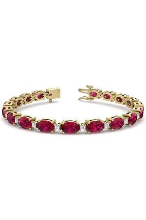 SuperJeweler 11 Carat Oval Shape Ruby & Diamond Bracelet in 14K (9.60 g)