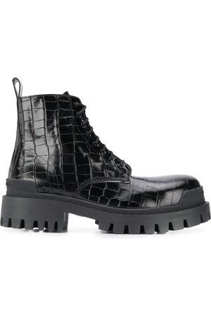 Balenciaga Crocodile-effect biker boots