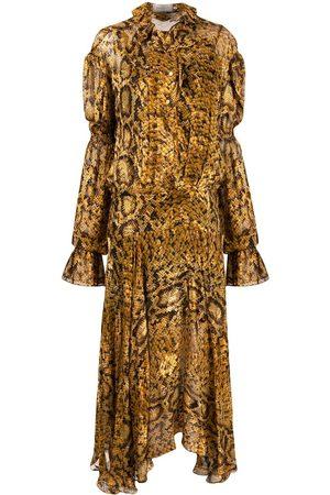 THORNTON BREGAZZI Women Printed Dresses - Jocelyn python print dress - Neutrals