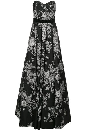 Marchesa Notte Strapless floral-embroidered dress