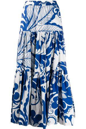 La DoubleJ Women Printed Skirts - X Mantero Marea Blu print flared skirt