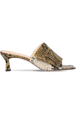 Wandler 55mm Python Print Leather Sandals