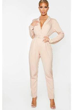 PRETTYLITTLETHING Nude Lapel Detail Belted Jumpsuit