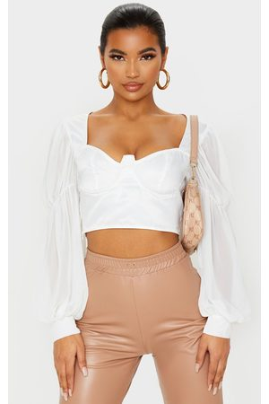 PRETTYLITTLETHING Satin V-Wire Underbust Sheer Sleeve Cropped Blouse