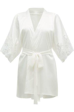 Fleur Of England Women Bathrobes - Signature Lace-insert Silk-blend Robe - Womens